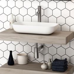 vasque-rectangulaire-a-poser-resine-blanche-Etna-51x33-cm-sur-plateau-bois-couleur-chene