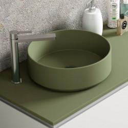 mitigeur-sureleve-Quadro-chrome-sur-meuble-avec-vasque-a-poser-ronde