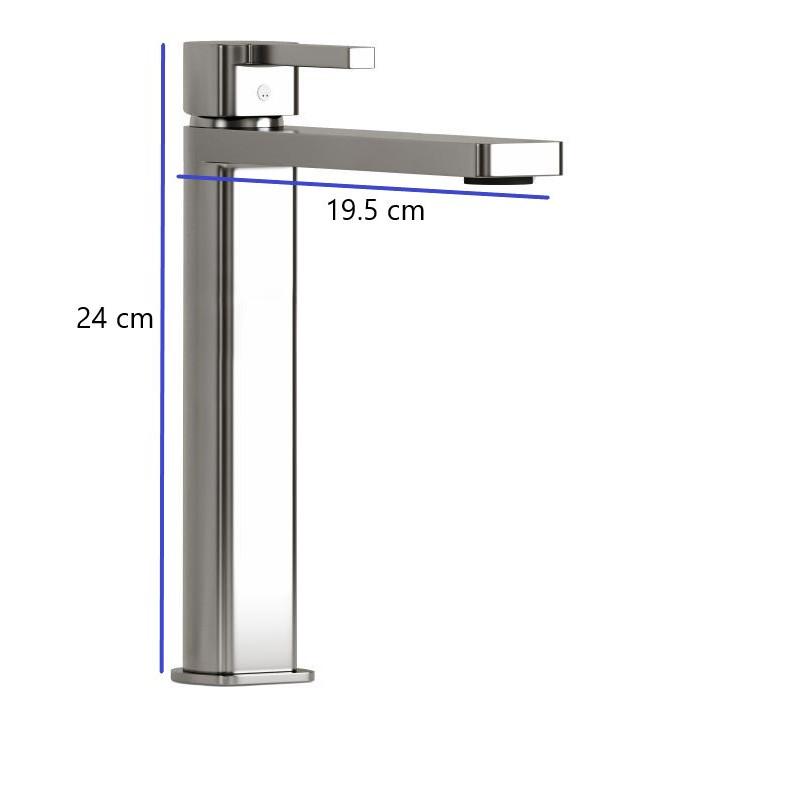dimension-mitigeur-sureleve-Quadro-chrome-h-24-cm-profondeur-bec-19-cm