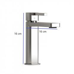 dimension-mitigeur-lavabo-quadro-chrome-H-16-cm-longueur-bec-16-cm