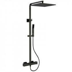 colonne-de-douche-Quadro-noire-en laiton-avec-mitigeur-thermostatique-douche-de-tete-flexible-et-douchette-a-main