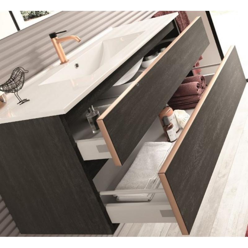 MEUBLE-100-cm-simple-vasque-2-tiroirs-Napoli-bois-noir-et -chants-des-tiroirs-cuivre