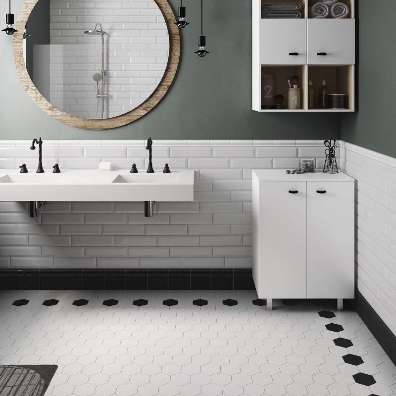 carrelage-sol-salle-de-bains-hexagonal-blanc-avec pourtour-hexagone-noir-116x101-mm-Scale-white