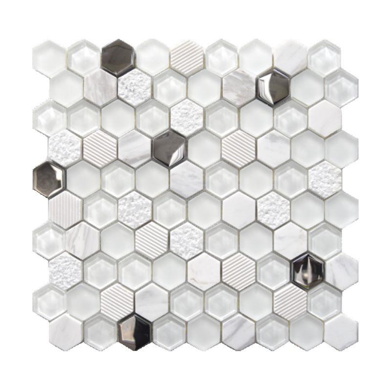 mosaique-hexagone-sur -trame-en-pierre-blanche-et-verre