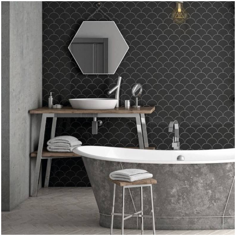 carrelage-mural-forme-originale-ecaille-de-poisson-noir-brillant-106x120-mm-Scale-Fan-salle-de-bains