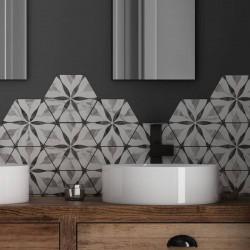 carreau-hexagonal-gres-cerame-motif-bleur-sur-base-aspect-marbre-gris-clair-bardiglio-flower-175x200-mm
