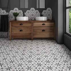 sol-salle-de-bain-carrelage-tomette-bardiglio hexagone-marbre decor-flower-175x200-mat-avec-meuble-bois