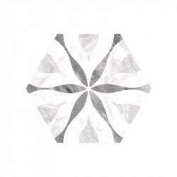 carrelage-sol hexagonal-bardiglio-decor-flower-175x20-hexagon