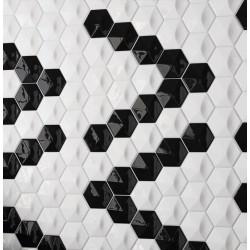 faience-magical3-noir-et-blanc-108x124-oberland-hexagone-relief-3d-brillant