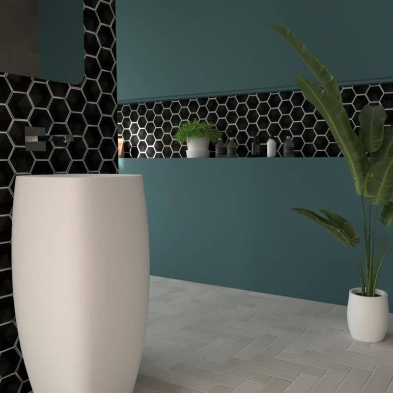 carrelage-hexagonal-noir-mat-relief-3D-magical3-black-mat-108x124-oberland-mur-salle-de-bains