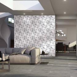 Mur-d-un-sejour-moderne-avec-du-carrelage-50x100-motif-fleur-noir-et-blanc-Couture-black-white