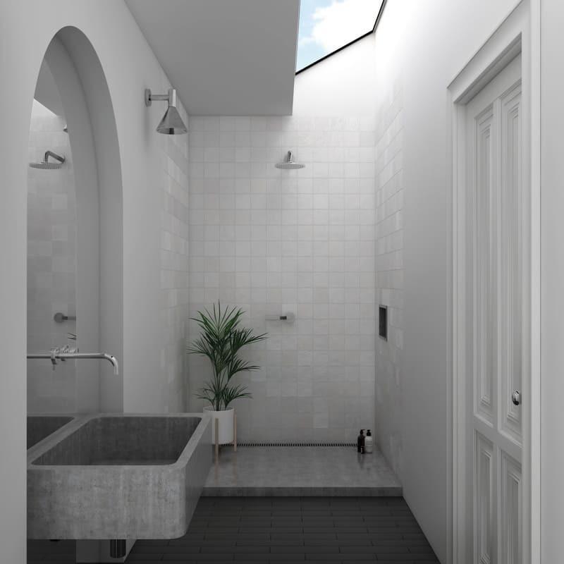 Faience-La-Riviera-13.2x13.2-blanc-brillant-aux-murs-salle-de-bains