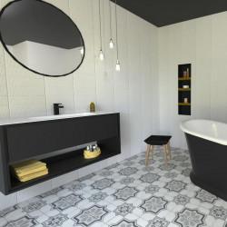 carrealge-art-nouveau-capitol-grey-20x20-cm-sol salle-de-bains-avec-baignoire-ilot-noire