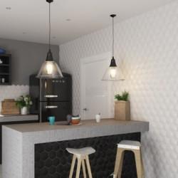 mur-cuisine carrelage-magical-3-blanco-umbrella-hexagone-relief-3d-brillant