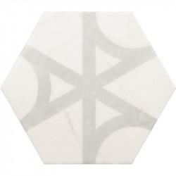 Carrelage-tomette-hexagone-decor-marbre Carrara-Mat-Flow-175x200-mm