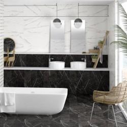 Carrelage-mural-imitation-marbre-blanc-33x100-Oberon-mat-dans-une-salle-de-bains-contemporaine