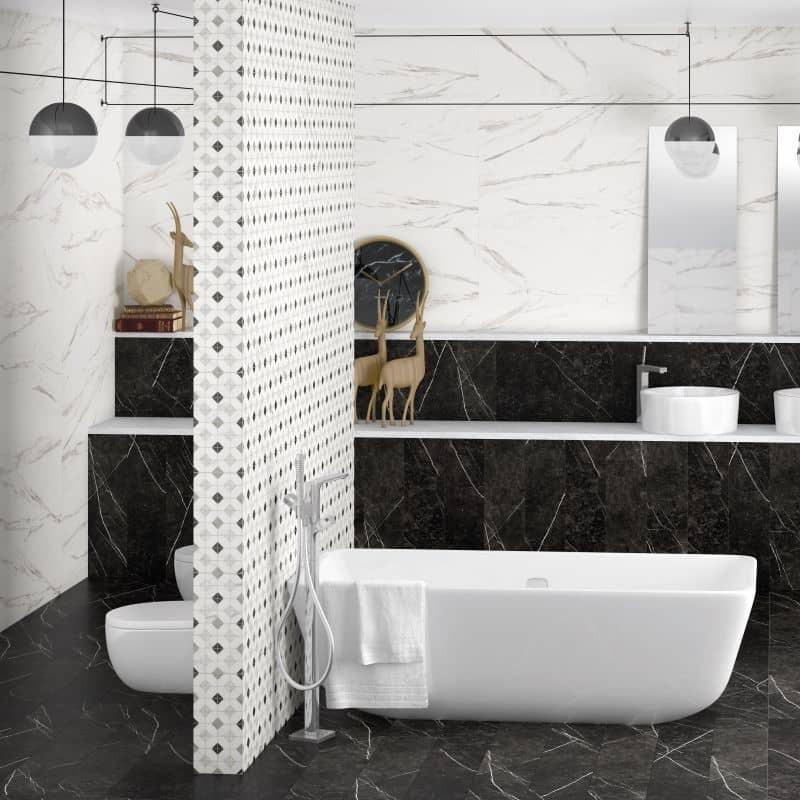 mur-salle-de-bain-en-marbre-noir-et-blanc-et-carrelage-decor-graphique-marbre-33x100-janus-blanco