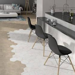 sol-cuisine carrelage-hexagonal-marbre-blanc-175x200-Carrara-hexagon-matt