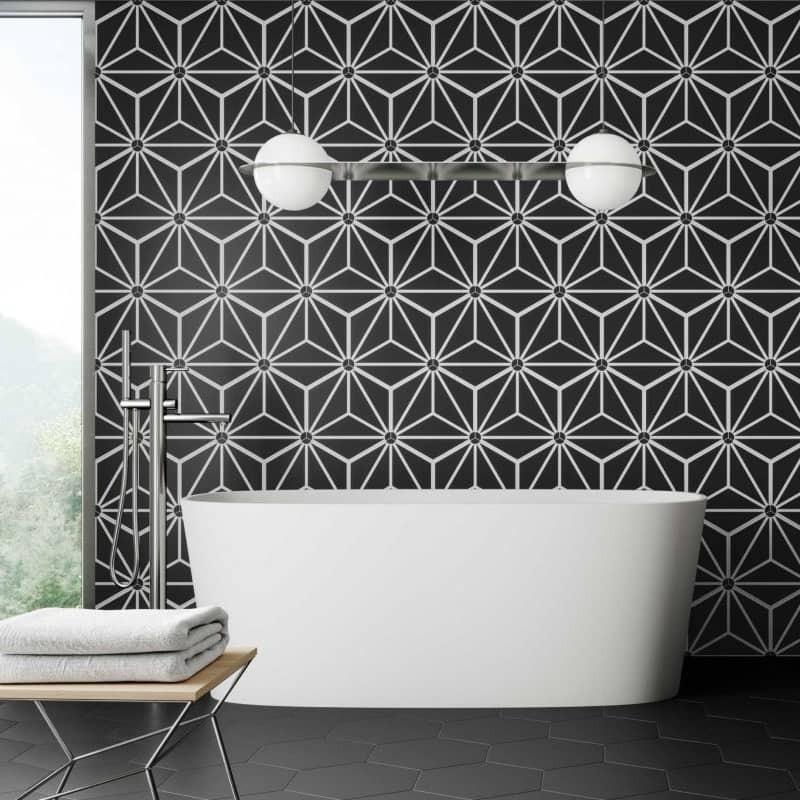 Mur-salle-de-bains-arrelage-hexagonal-decor-geometrique-330x285-mm-Osaka-black