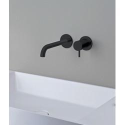 mitigeur-lavabo-mural-Castri-noir-mat-robinet-a-droite-du-bec