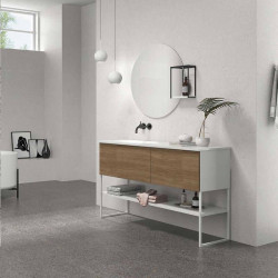 Carrelage-terrazzo-blanc-74.7x74.7-Odin -Moon-murs-salle-de-bains