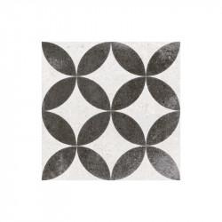 carreau-ciment-imitation-noir-blanc-motif-fleur-aspect-vieilli-20x20-Kare-negro