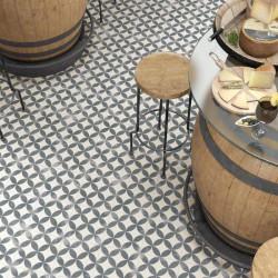 sol-restaurant-carreau-ciment-imitation-noir-blanc-motif-fleur-aspect-vieilli-20x20-Kare-negro