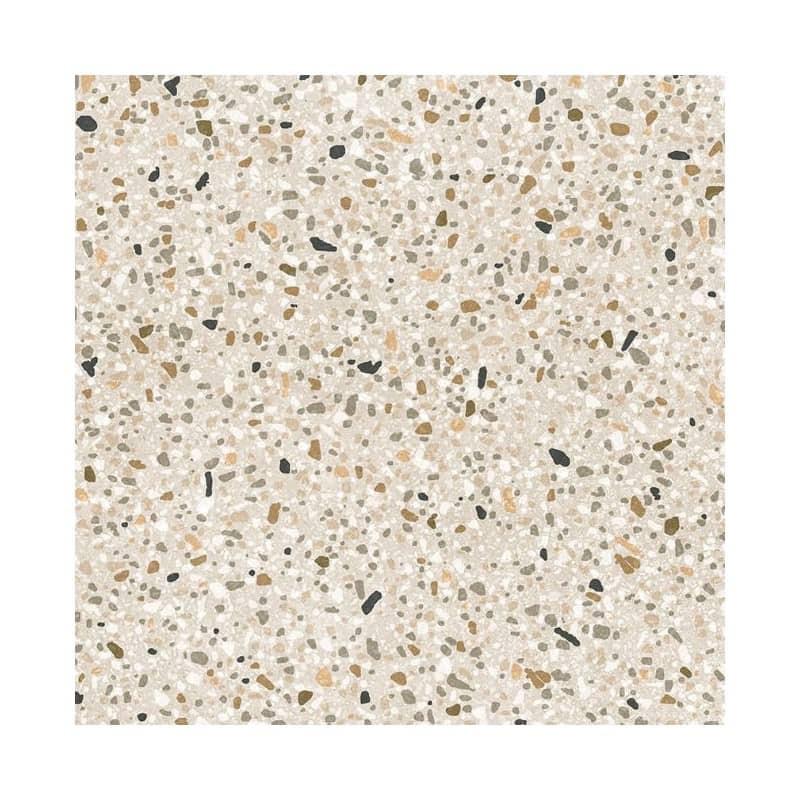 carrelage-aspect-terrazzo-avec-petits-morceaux-de-pierre-colores-gris-blanc-marron-sur-fond-beige-Stracciatella-20x20-taupe