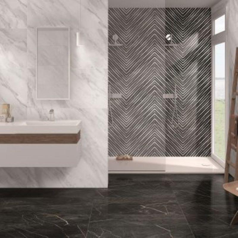 carrelage-salle-de-bain-aspect-marbre-noir-veine-marron-Nuit-gloss-49,1x98,2