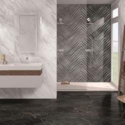 Mur-douche-carrelage-effet-marbre-noir-decor-geometrique-Deco-Nuit-gloss-49x98-cm