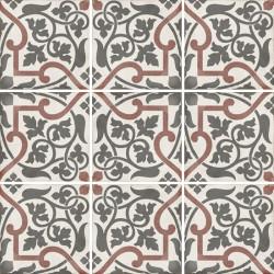 carrelage-carreaux-de-ciment-motif-rouge-et-gris-floral-20x20-art-nouveau-Folies-bergere