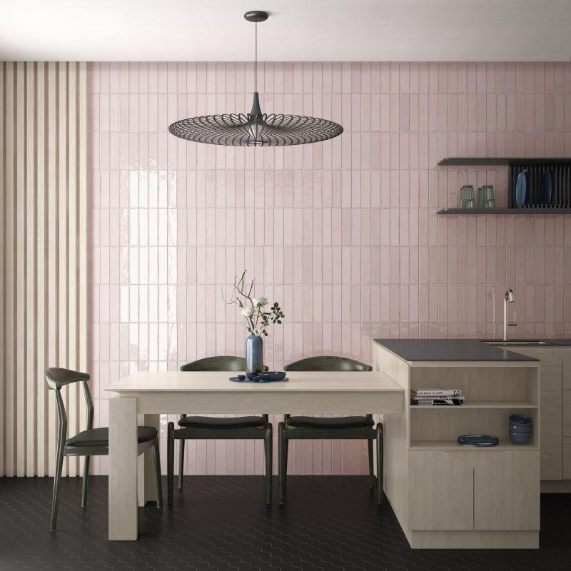 mur-cuisine-carrelage-zellige-tribeca-tea-rose-6x24-cm