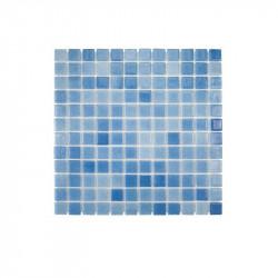 Mosaïque piscine 2.5x2.5 émaux de verre bleu nuagé