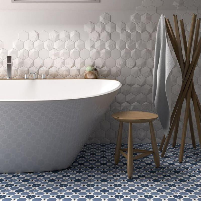 faience-hexagone-tomette-mur-salle-de-bain-relief-3d-umbrella-magical-3-white-mat-124X107