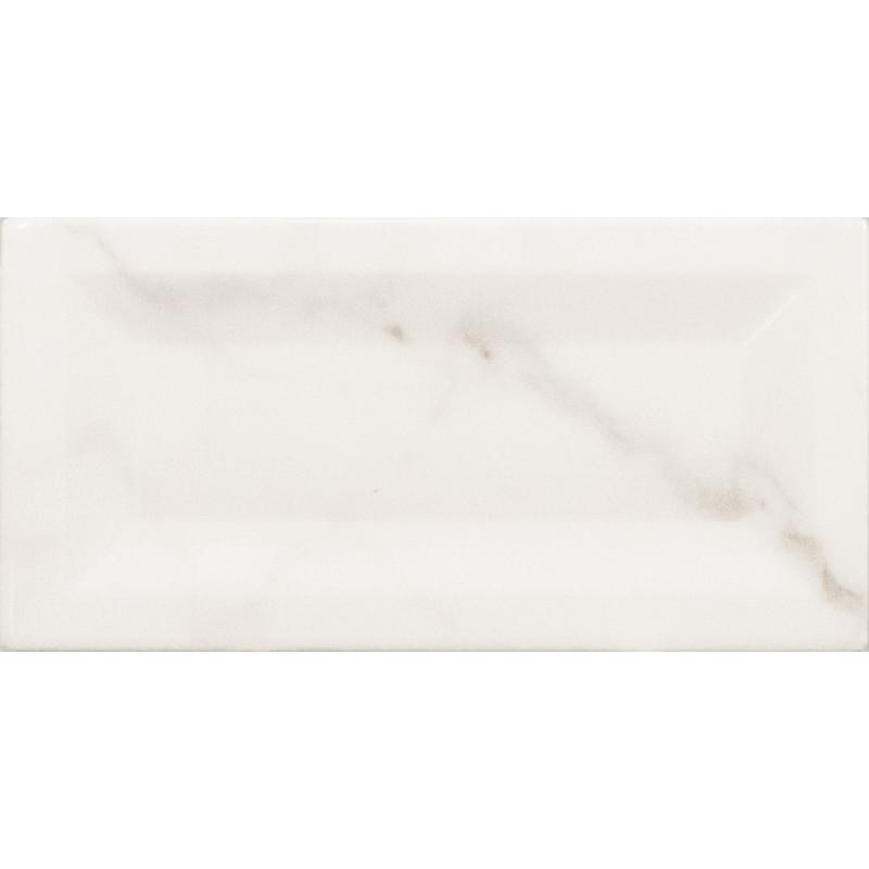 Carreau-metro-marbré-blanc-brillant Carrara-inmetro-75x150-mm-biseau-interieur